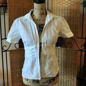 Short Sleeve White Fitted Button Down